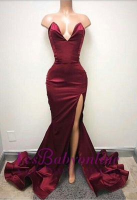 Simple Burgundy Mermaid Prom Dresses Sweetheart Neck Side Split Evening Gowns_1