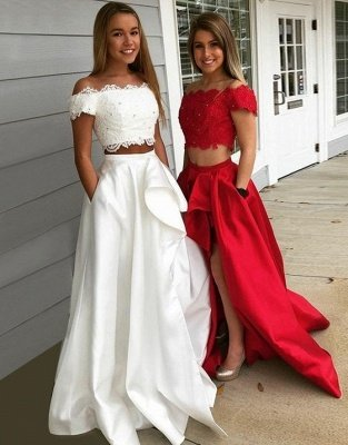 Chic Beading Two-Piece Prom Dresses   Lace Off-the-Shoulder Hi-Lo Party Dresses_3