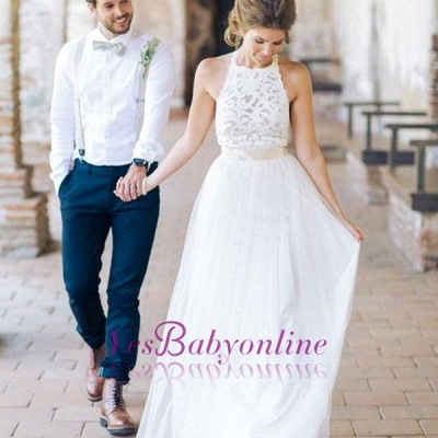 White Floor-length Halter A-line Simple Lace Sashes Wedding Dress_1