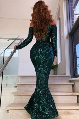 Green Sequined Off Shoulder Sexy Mermaid Prom Dress with Sleeves_3