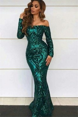 Green Sequined Off Shoulder Sexy Mermaid Prom Dress with Sleeves