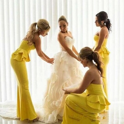 Long Peplum Bright-Yellow Mermaid Ruffles Bridesmaid Dresses_4