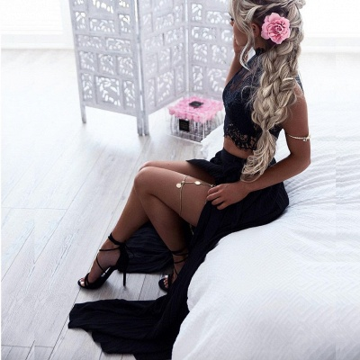 Chic Scoop Lace Hi-Lo Evening Dresses | Sleeveless Two Pieces Prom Dresses BC2565_4
