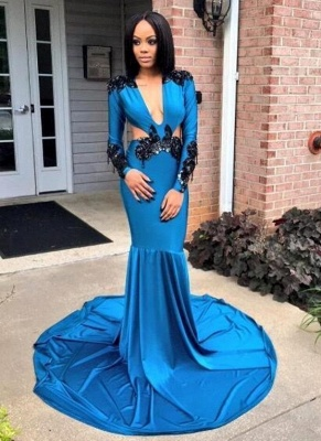 Blue Appliques Mermaid Prom Dresses | V-neck Long Sleeves Evening Gowns_1