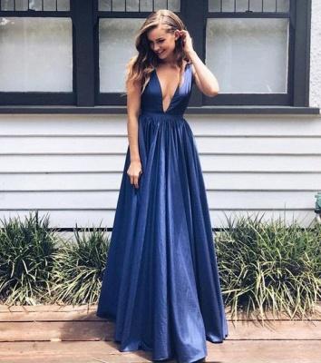 V-Neck Evening Dresses Long Sleeveless Sexy Deep Blue Royal A-Line Prom Dresses_2