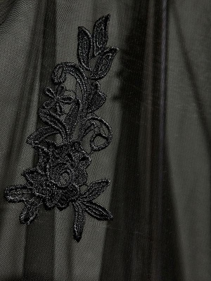 Black Beaded Mermaid Elegant Lace-Applique Sweetheart Prom Dresses_5
