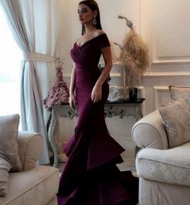 Mermaid Burgundy off-shoulder Prom Dresses_3