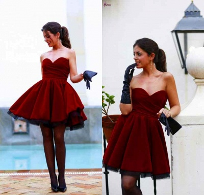 Lovely Sweetheart Burgundy Homecoming Dresses Short Prom Gowns_3