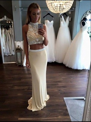 2019 Two-Piece Sheath Prom Dresses Sleeveless Crystals Formal Dresses_3