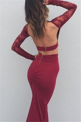 2019 Burgundy Two-Piece Prom Dresses Lace Long Sleeves Backless Mermaid Evening Gowns_2