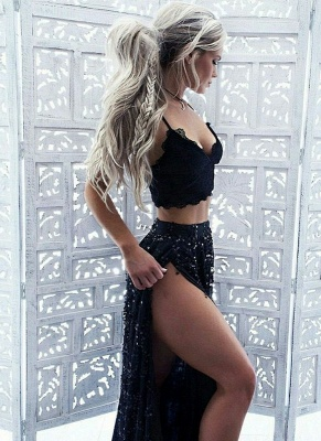 Chic Straps Sequined Evening Dresses   Side Slit Two Pieces Prom Dresses_1
