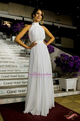 Elegant Long High-Neck Ruched White Prom Dress_1