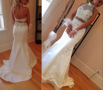 Gorgeous Crystals Zipper Mermaid Sleeveless High-Neck Two-Piece Sweep-Train Prom Dress_3