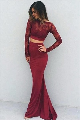 2019 Burgundy Two-Piece Prom Dresses Lace Long Sleeves Backless Mermaid Evening Gowns_1