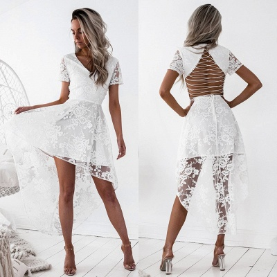 Elegant Short Sleeve Lace Homecoming Dress Hi-Lo Party Gowns_5