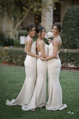 Buttons-Back Lace Sexy Spaghettis-Straps Sleeveless Bridesmaid Dresses_3