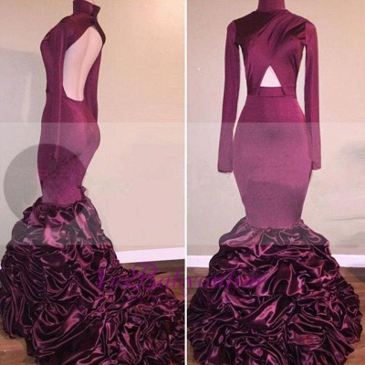 Mermaid Long-Sleeves High-Neck Ruffles Open-Back Newest Prom Dress_1