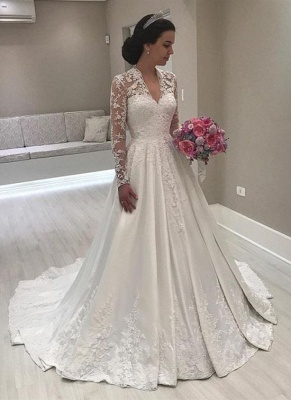 Charming A-Line Lace Wedding Dresses | V-Neck Long Sleeves Puffy Bridal Gowns_1