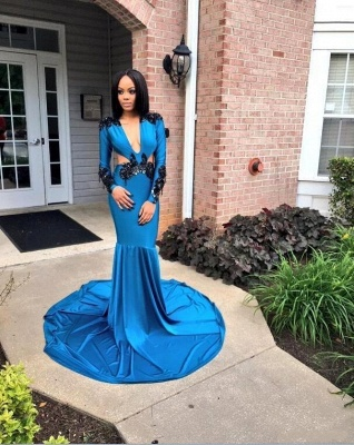 Blue Appliques Mermaid Prom Dresses | V-neck Long Sleeves Evening Gowns_3