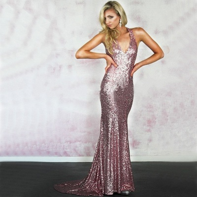 Rose-Pink Criss-Cross-Back Sexy Sequins Mermaid Prom Dresses_4