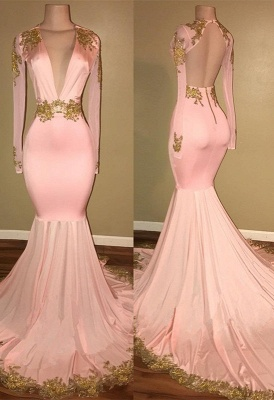 Sexy Mermaid Prom Dresses Deep V-Neck Long Sleeves Gold Appliques Evening Gowns_1