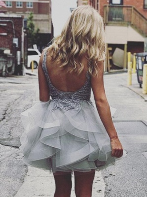 Sexy Backless Homecoming Dresses   Sleeveless V-Neck Cocktail Dresses_4