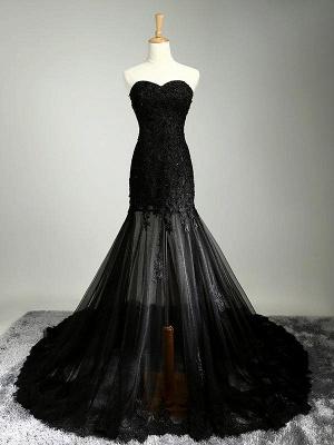 Black Beaded Mermaid Elegant Lace-Applique Sweetheart Prom Dresses_2