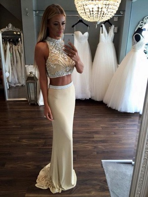 2019 Two-Piece Sheath Prom Dresses Sleeveless Crystals Formal Dresses_2