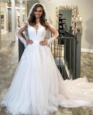 Long Sleeve Jewel Applique Ruffles A Line Wedding Dresses | Sheer Back Wedding Gown_3