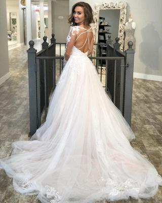 Long Sleeve Jewel Applique Ruffles A Line Wedding Dresses | Sheer Back Wedding Gown_2