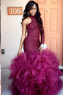 One-Sleeve Lace Specail Sheath Tulle Latest High-Neck Puffy Prom Dress_1