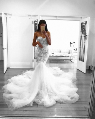Romantic Sweetheart Lace White Wedding Dress | Sexy Mermaid Bridal Gowns_4