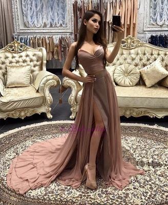 Sexy Long A-line layers Straps Side-Slit Prom Dresses_1