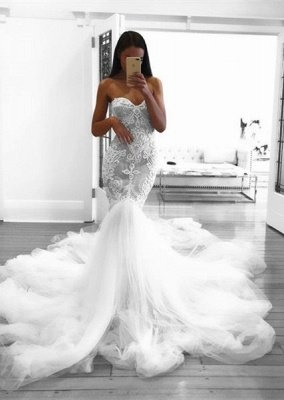 Romantic Sweetheart Lace White Wedding Dress | Sexy Mermaid Bridal Gowns_1
