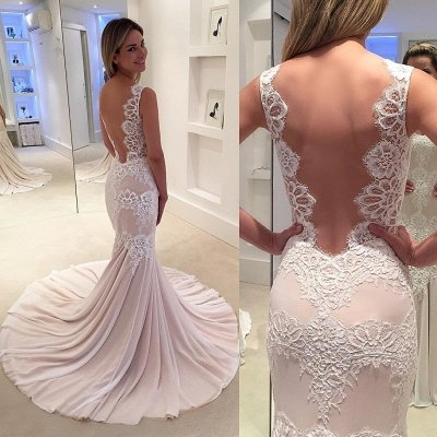 Modern Sleeveless Sweep-Train Lace Mermaid Straps Wedding Dress_3