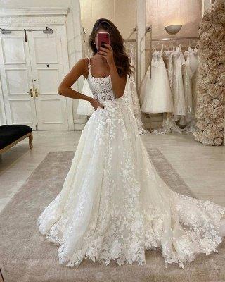 Sexy Spaghetti Strap Lace A Line Floor Length Wedding Dresses_2