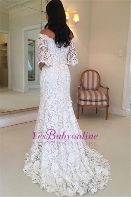 Stunning Half-Sleeves Simple Off-the-Shouler Lace Wedding Dress_1