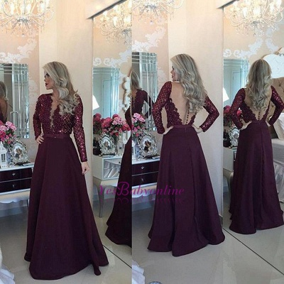 Beadings Sexy Lace Burgundy A-Line Long-Sleeves Prom Dress_1