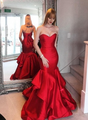 Sweep-trian Mermaid Sweetheart Lace-up Red Tired Evening Dress_3