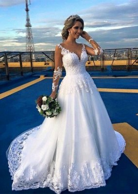 Gorgeous Jewel Long Sleeves Sweep Train Ball Gown Wedding Dresses | Bridal Gowns Cheap_1