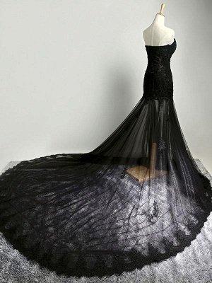 Black Beaded Mermaid Elegant Lace-Applique Sweetheart Prom Dresses_3