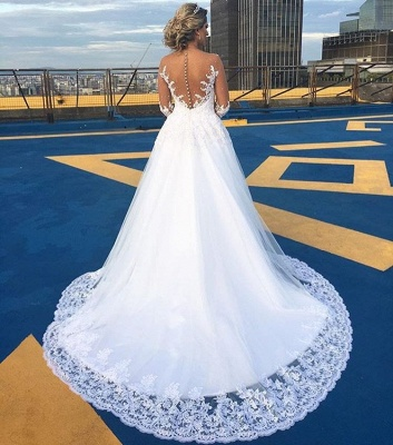Gorgeous Jewel Long Sleeves Sweep Train Ball Gown Wedding Dresses | Bridal Gowns Cheap_3