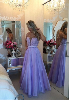 Pearls Long Sheer Puffy Short-Sleeves Lavender Romantic Prom Dresses_2