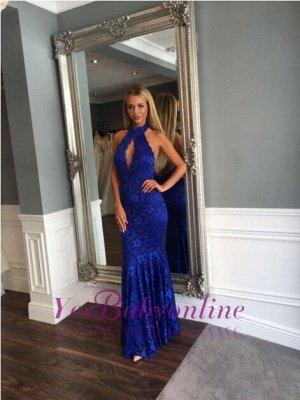 Mermaid Sleeveless Newest Backless Lace Floor-length High-Neck Prom Dress_1