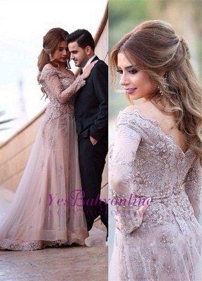 A-line Sweep-Train Off-the-shoulder Lace-Appliques Elegant Zipper Long-Sleeve Evening Dress_2