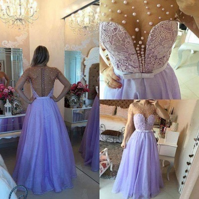 Pearls Long Sheer Puffy Short-Sleeves Lavender Romantic Prom Dresses_3