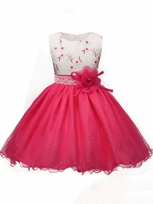 Cute A-Line Tulle Flower Lace Embroidery Ankle-Length Flower Girl Dress_1