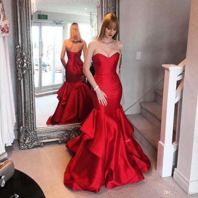 Sweep-trian Mermaid Sweetheart Lace-up Red Tired Evening Dress_2