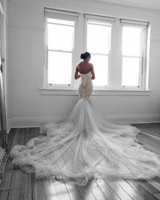 Romantic Sweetheart Lace White Wedding Dress | Sexy Mermaid Bridal Gowns_3