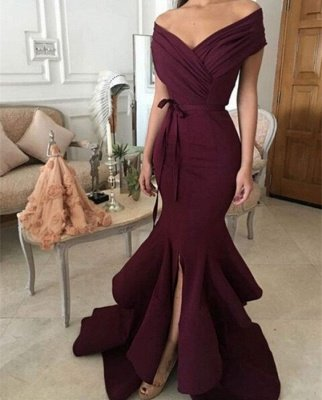 Mermaid Burgundy off-shoulder Prom Dresses_4